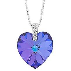 Jon Richard - Heliotrope purple crystal heart drop necklace MADE WITH SWAROVSKI ELEMENTS
