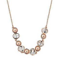Jon Richard - Crystal rose gold pearl chain necklace MADE WITH SWAROVSKI ELEMENTS