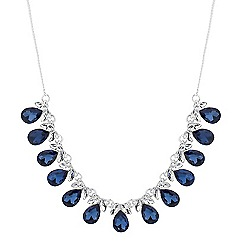 Jon Richard - Crystal navette and blue teardrop necklace