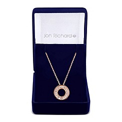 Jon Richard - Cubic zirconia encased circular pendant necklace