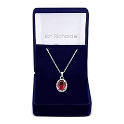 Jon Richard - Red oval cubic zirconia surround drop necklace