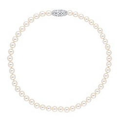 Alan Hannah Devoted - Designer pearl and crystal oval clasp necklace
