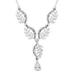 Alan Hannah Devoted - Designer cubic zirconia curved leaf y drop necklace