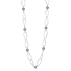 Jon Richard - Pearl and silver metal link rope necklace