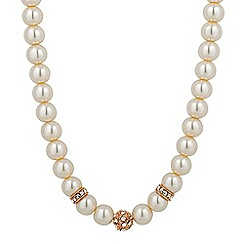 Jon Richard - Rose gold crystal ball pearl chain necklace