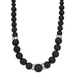 Jon Richard - Graduated black pearl and crystal disc necklace