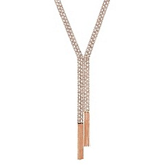 Jon Richard - Long diamante crystal rose gold chain tassel necklace