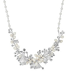 Alan Hannah Devoted - Designer pearl and crystal leaf hand wrap necklace