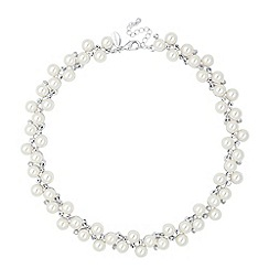 Jon Richard - Statement pearl and crystal cluster necklace