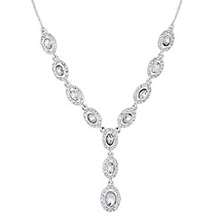 Jon Richard - Oval crystal surround y drop necklace