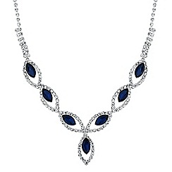 Jon Richard - Blue navette diamante crystal y drop necklace
