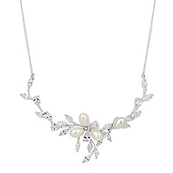 Alan Hannah Devoted - Designer oval pearl and cubic zirconia leaf necklace