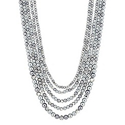 Jon Richard - Online exclusive grey pearl and bead five row necklace