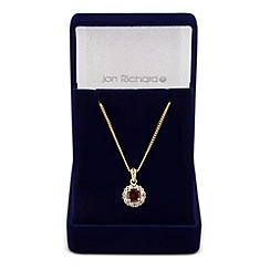 Jon Richard - Clara red cubic zirconia round drop necklace