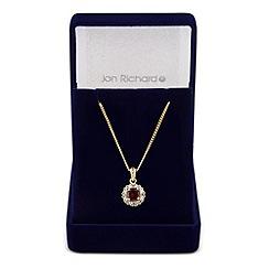 Jon Richard - Clara red cubic zirconia round drop necklace
