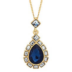 Jon Richard - Blue peardrop baguette surround necklace