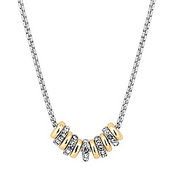 Jon Richard - Mixed metal polished and crystal disc necklace