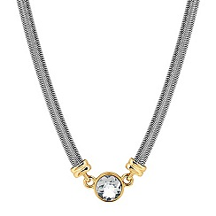 Jon Richard - Round crystal gold link and flat snake chain necklace