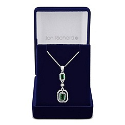Jon Richard - Green cubic zirconia baguette surround drop necklace