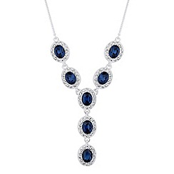 Jon Richard - Blue oval crystal surround y drop necklace
