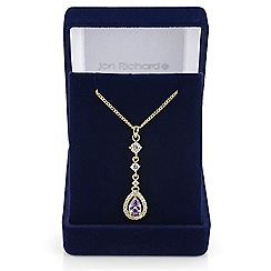 Jon Richard - Purple cubic zirconia peardrop necklace