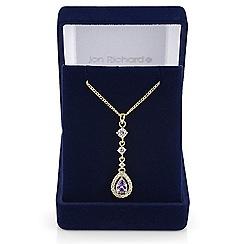 Jon Richard - Purple cubic zirconia peardrop necklace
