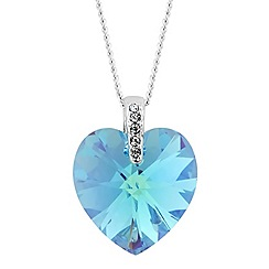 Jon Richard - Aquamarine crystal heart necklace MADE WITH SWAROVSKI ELEMENTS