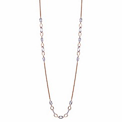 Jon Richard - Rose gold and silver crystal link long necklace