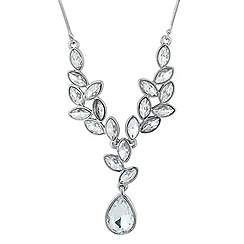 Jon Richard - Navette cluster silver teardrop necklace