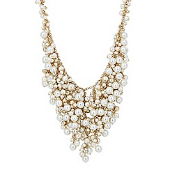 Jon Richard - Pearl and crystal cluster gold necklace
