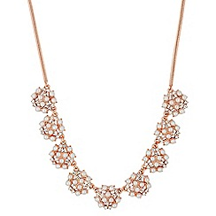Jon Richard - Pearl and crystal rose gold bubble necklace