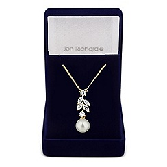 Jon Richard - Cubic zirconia navette and pearl drop necklace