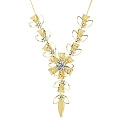 Jon Richard - Crystal and mesh gold flower y drop necklace