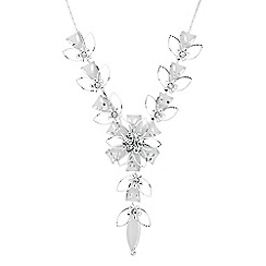 Jon Richard - Crystal and mesh silver flower y drop necklace