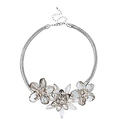 Jon Richard - Statement triple glass silver flower necklace