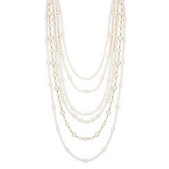 Jon Richard - Statement mixed pearl six row necklace