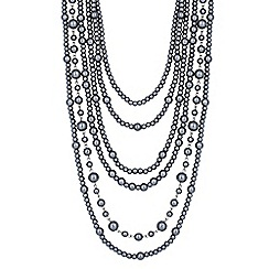 Jon Richard - Statement mixed grey pearl six row necklace