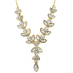 Jon Richard - Round and navette crystal gold drop necklace