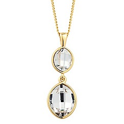 Jon Richard - Leaf crystal double gold drop necklace MADE WITH SWAROVSKI ELEMENTS