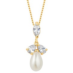 Alan Hannah Devoted - Designer triple cubic zirconia pearl drop necklace