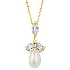 Alan Hannah Devoted - Designer triple cubic zirconia pearl drop necklace