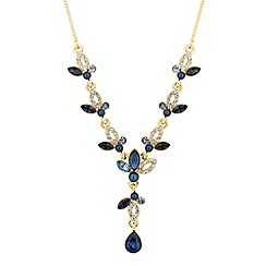 Jon Richard - Crystal navette blue peardrop necklace