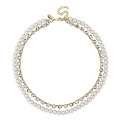 Jon Richard - Pearl and crystal double row necklace