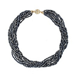 Jon Richard - Blue bugle bead twist magnetic necklace