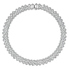 Jon Richard - Silver crystal embellished link collar necklace