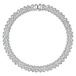 Jon Richard - Silver crystal embellished link collar necklace