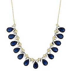 Jon Richard - Crystal navette blue teardrop necklace