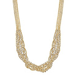 Jon Richard - Gold diamante crystal and ball chain necklace