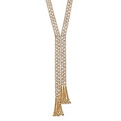 Jon Richard - Diamante crystal gold clover lariat necklace