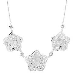 Jon Richard - Silver filigree triple flower drop necklace